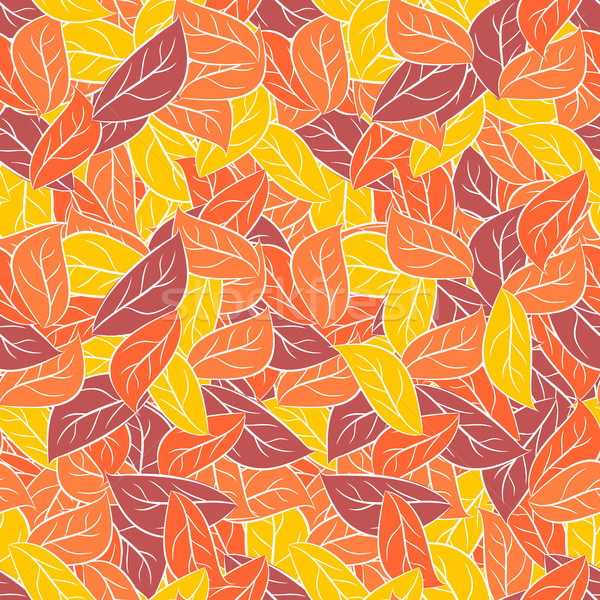 Autumn foliage in pastel colours. Vector seamless pattern for fa Stock photo © MaryValery