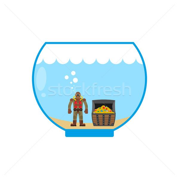 Plongeur aquarium miniature eau argent Photo stock © MaryValery