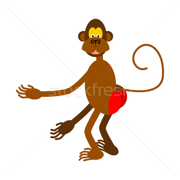 Geïsoleerd aap Rood butt witte handen Stockfoto © MaryValery