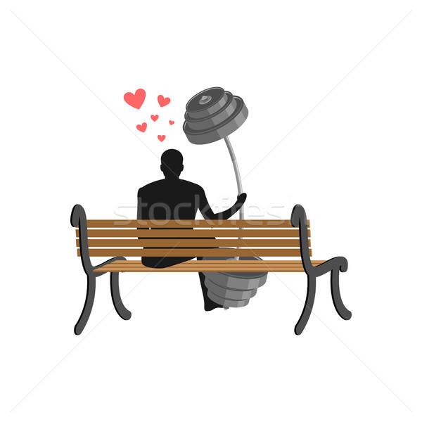 フィットネス 男 バーベル 座って ベンチ ストックフォト © MaryValery