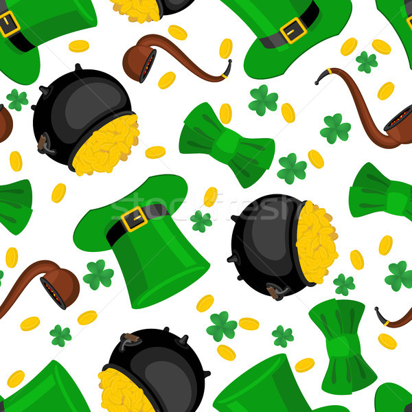 Stock photo: St. Patrick's Day seamless pattern. Leprechaun hat and gold. bow