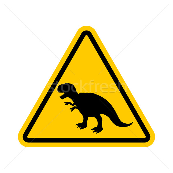 Attention dinosaur. Dangers of yellow road sign. Prehistoric pre Stock photo © MaryValery