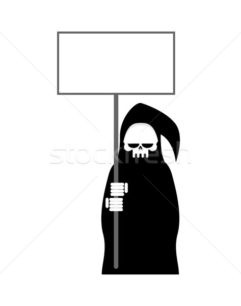 Grim Reaper with empty billboard plate. Death in hood hold white Stock photo © MaryValery