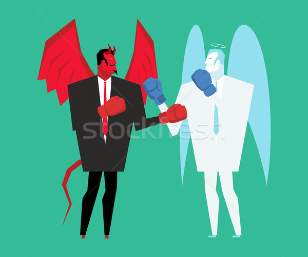 Fight devil and angel. Satan and god is boxing. Archangel and de Stock photo © MaryValery