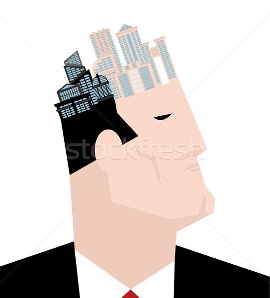 Mayor of city. Head and buildings. Thinks of town  Stock photo © MaryValery