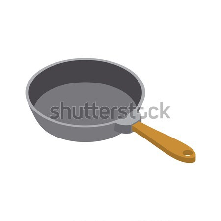 Stock photo: Frying pan isolated isometry. Fry dishes on white background