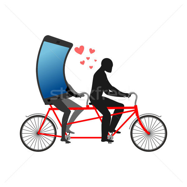 Lover of gadgets. Man and smartphone on bicycle. Riding on tande Stock photo © MaryValery