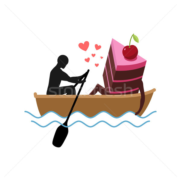 Lover of cakes. Man and piece of cake Ride in boat. Lovers. Glut Stock photo © MaryValery