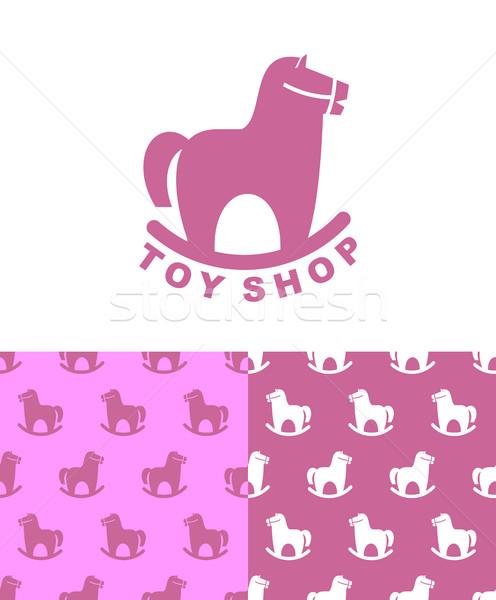 Jouet magasin logo cheval à bascule emblème Photo stock © MaryValery
