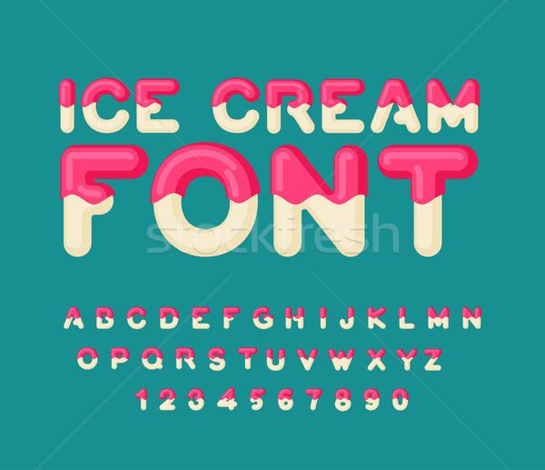 Ice cream font. Popsicle alphabet. Cold sweets ABC. Food typogra Stock photo © MaryValery