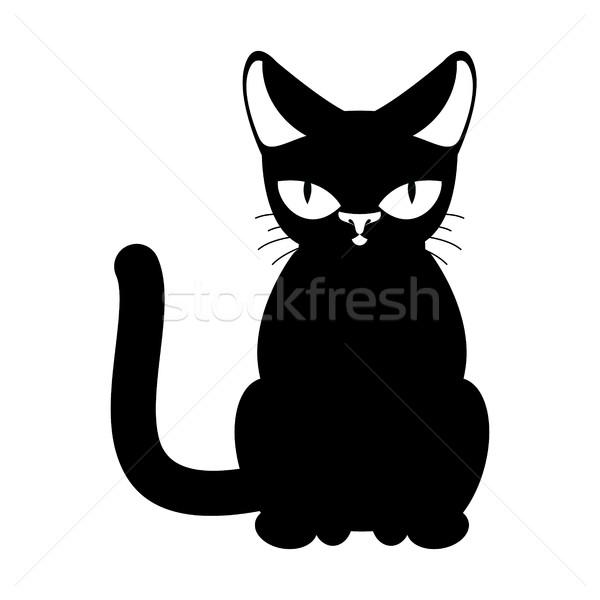 Cat black isolated. Pet on white background Stock photo © MaryValery