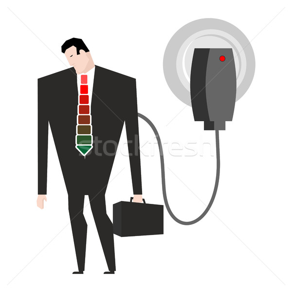 Charging for businessman. Man in suit and charger. business Meal Stock photo © MaryValery