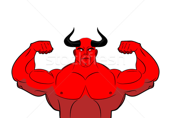 Strong demon with horns. Powerful red devil. Satan bodybuilder Stock photo © MaryValery