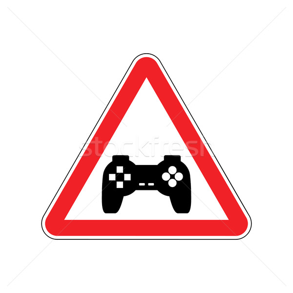 Attention video games. Dangers of red road sign Gamepad. Caution Stock photo © MaryValery
