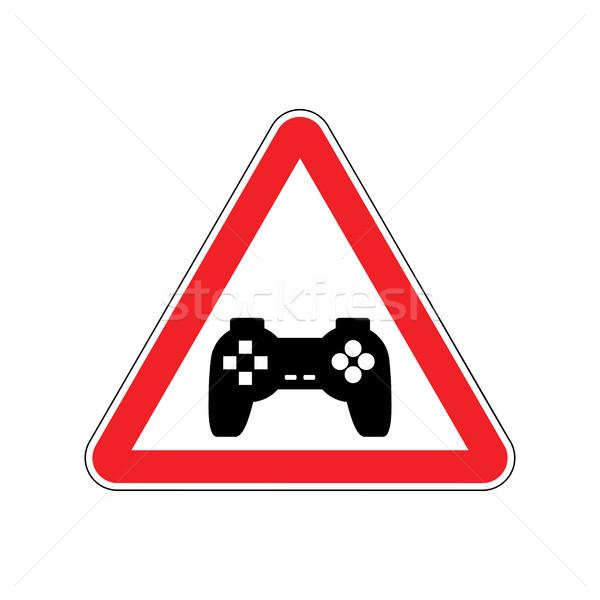 Dikkat video oyunları kırmızı yol işareti gamepad dikkat Stok fotoğraf © MaryValery