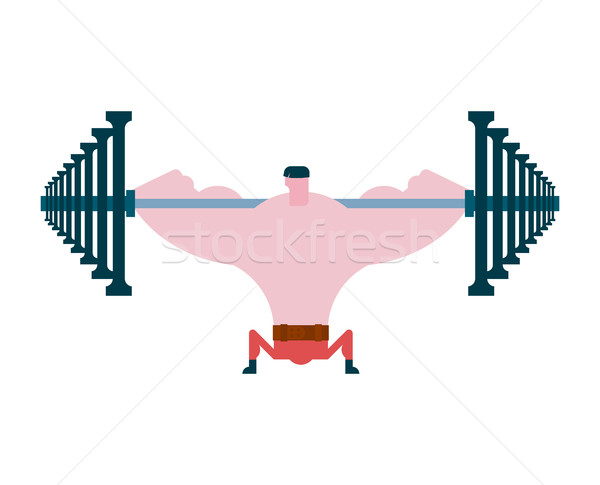 Squat on barbell exercise. Athlete and barbell. Bodybuilding and Stock photo © MaryValery