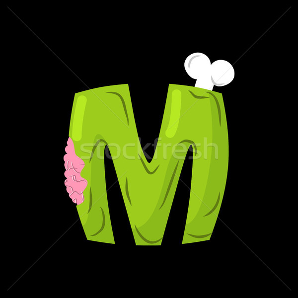 Letter M zombie font. Monster alphabet. Bones and brains letteri Stock photo © MaryValery