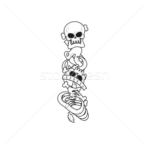 Letra i esqueleto ossos fonte anatomia alfabeto Foto stock © MaryValery