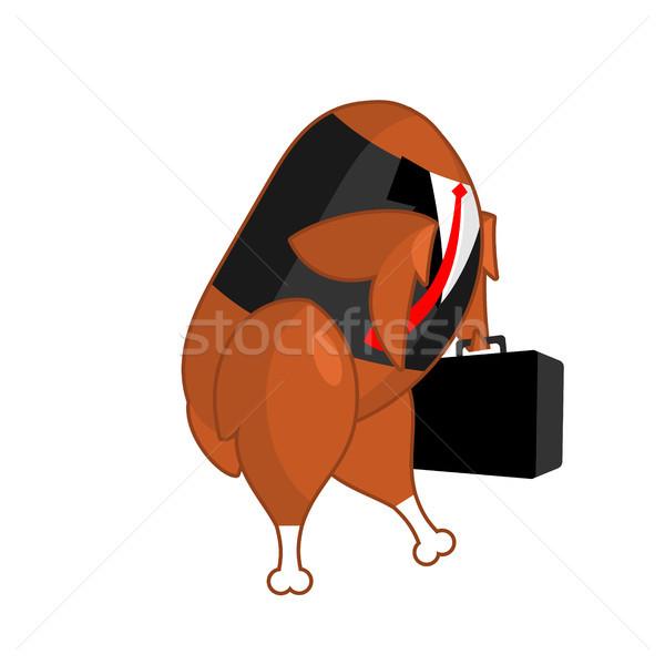 Frango assado empresário escritório mala Foto stock © MaryValery