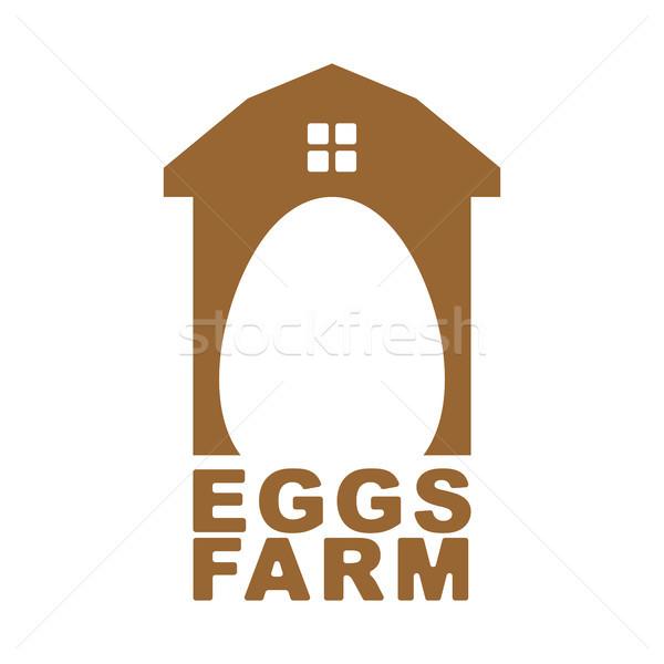 Pollo granja emblema huevo logo aves de corral Foto stock © MaryValery