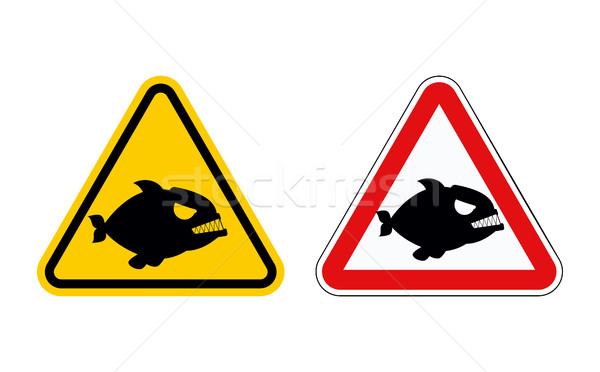 Dangerous marine predator. Attention of  Piranha. Hazard symbols Stock photo © MaryValery
