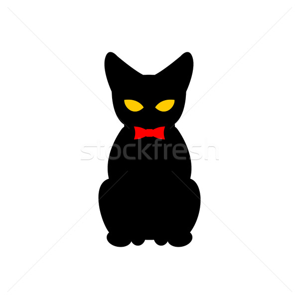 Black cat with red bow tie. Silhouette of pet sitting. Vector il Stock photo © MaryValery