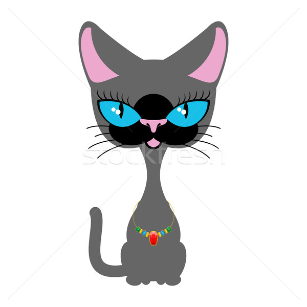Beautiful cat with  necklace of precious stones. Siamese breed c Stock photo © MaryValery