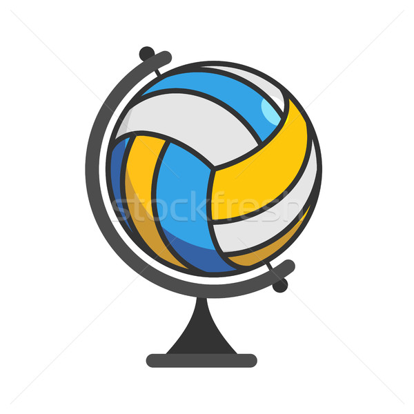 Globe volleyball. World game. Sports accessory as earth sphere.  Stock photo © MaryValery