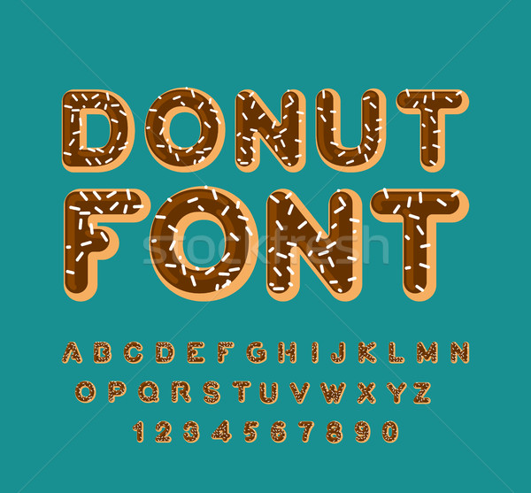 Stock photo: Donut font. pie alphabet. Baked in oil letters. Chocolate icing