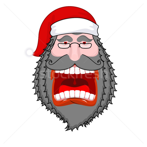 Evil  dark Santa Claus shouts. Black beard and mustache. Negativ Stock photo © MaryValery