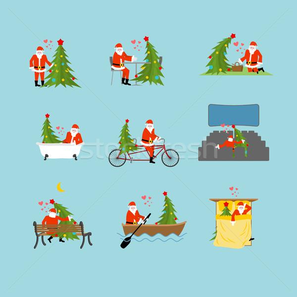 Papá noel árbol de navidad colección Navidad establecer Foto stock © MaryValery
