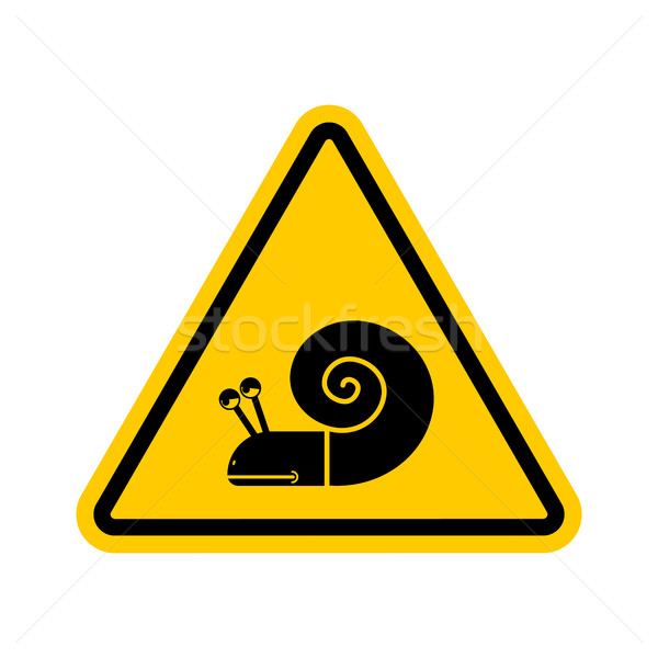 Attention escargot danger jaune panneau routier lent Photo stock © MaryValery