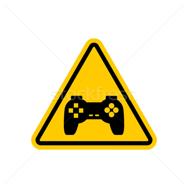 Attention video games. Dangers of yellow road sign Gamepad. Caut Stock photo © MaryValery