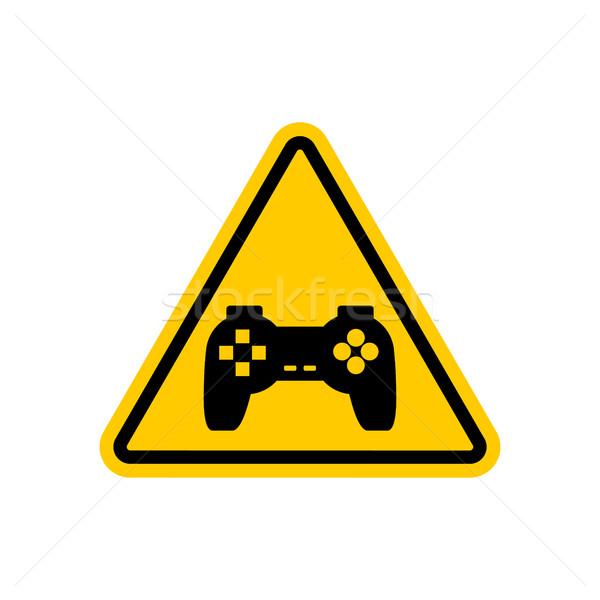 внимание Видеоигры желтый дорожный знак геймпад осторожность Сток-фото © MaryValery