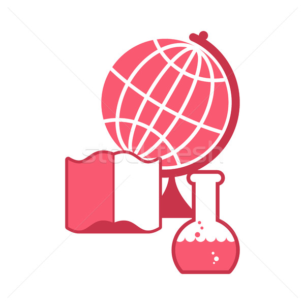 Tudomány logo embléma tudományos laboratórium flaska Stock fotó © MaryValery