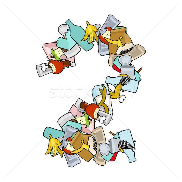 Numer śmieci kosza chrzcielnica dwa podpisania Zdjęcia stock © MaryValery