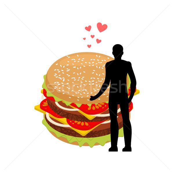 De comida rápida hombre hamburguesa tipo Foto stock © MaryValery
