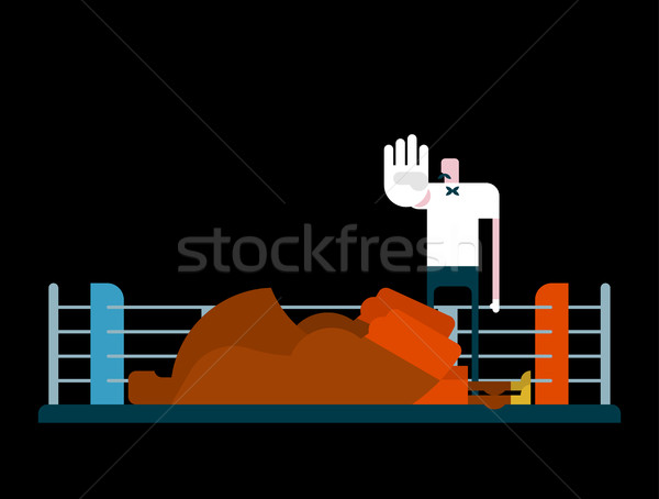 Knockout in ring. Referee and boxer. arbiter is counting Stock photo © MaryValery
