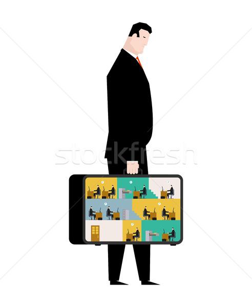 Oficina caso móviles lugar de trabajo maleta Foto stock © MaryValery