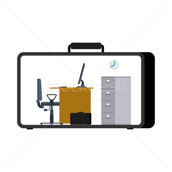 Escritório caso móvel local de trabalho mala trabalhando Foto stock © MaryValery