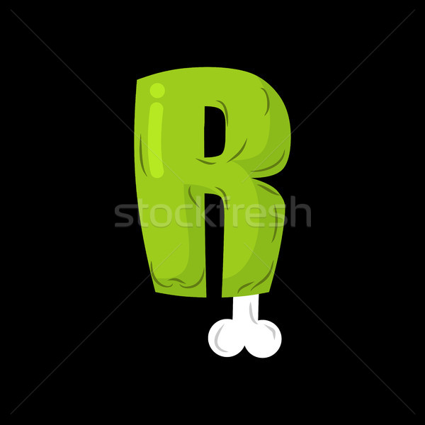 Letter R zombie font. Monster alphabet. Bones and brains letteri Stock photo © MaryValery