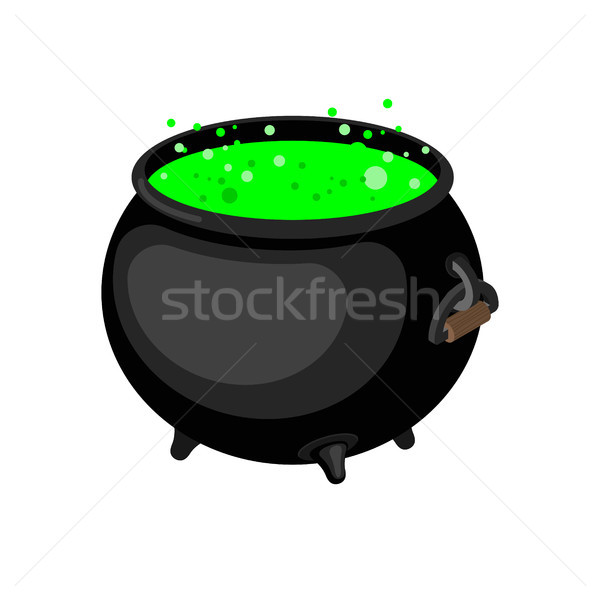 Pot of magical potion isolated. Witch accessory. Halloween illus Stock photo © MaryValery