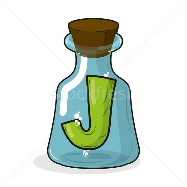 J in retro laboratory flask bottle. Letter in old magic potion b Stock photo © MaryValery