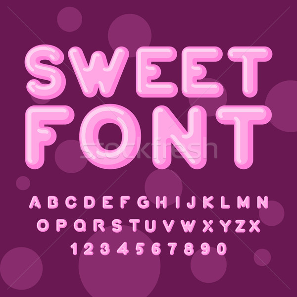 Sweet font. Pink letters. Lollipops lettring. ABC of caramel. Ca Stock photo © MaryValery