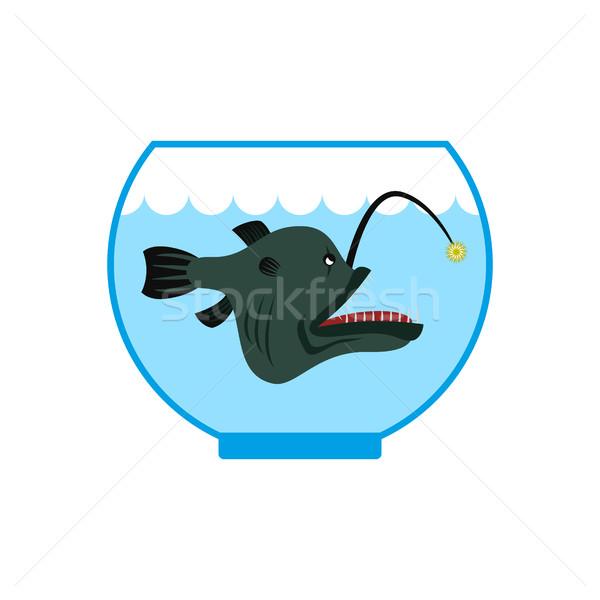 Profundo mar peixe aquário terrível cativeiro Foto stock © MaryValery
