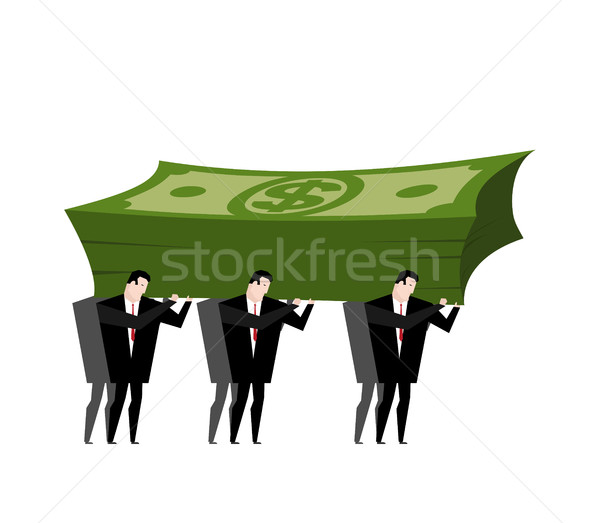 Businessman carrying pile money. Business man walking with Cash. Stock photo © MaryValery