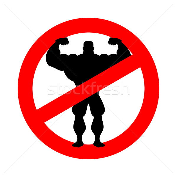 Stock photo: Stop athlete. Ban bodybuilding. Prohibited fitness. Red Circle r