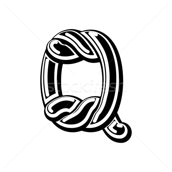 Letter Q Celtic font. norse medieval ornament ABC. Traditional a Stock photo © MaryValery