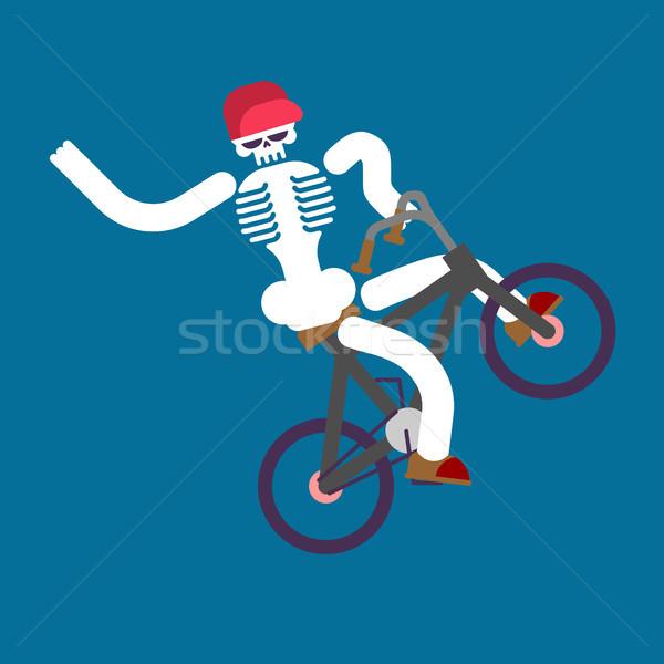 Iskelet bisiklet kafatası erkek bisiklet mutlu Stok fotoğraf © MaryValery