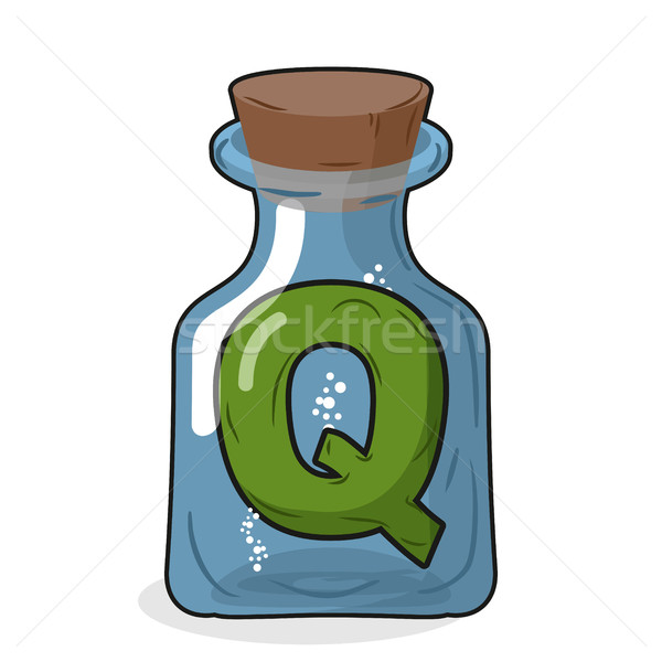 Q laboratory bottle. Letter in magical vessel with a wooden stop Stock photo © MaryValery